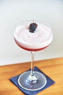 Cocktailschale mit Blackberry Clover Club Cocktail