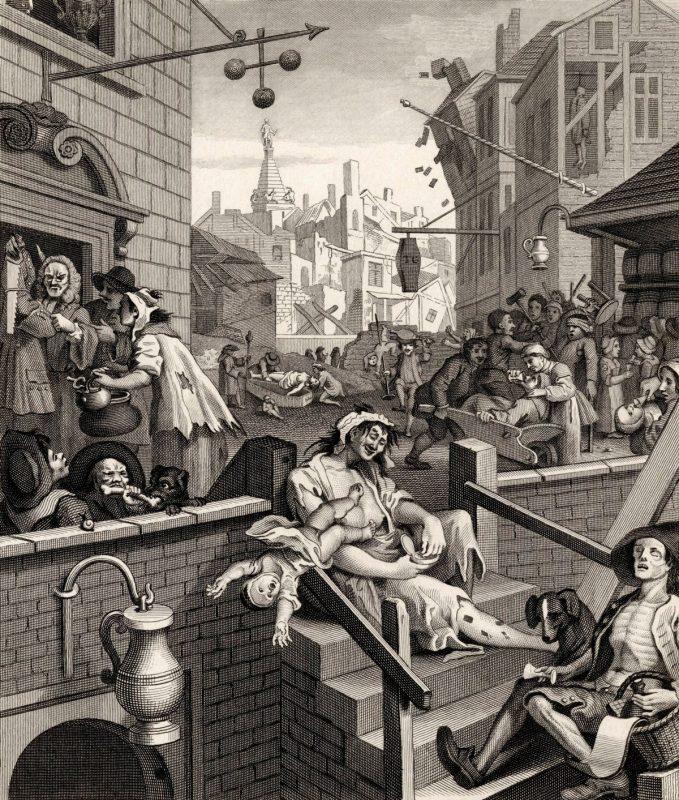 """William Hogarth """"Gin Lane"""" zu der Geschichte des Gins"""