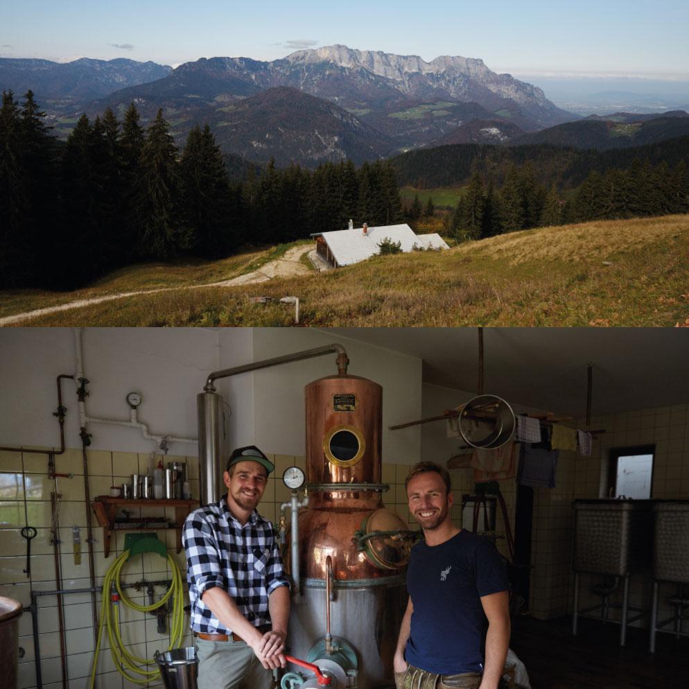 Gründer und Brennmeister des Whobertus Gin auf der einsamen Berghütte
