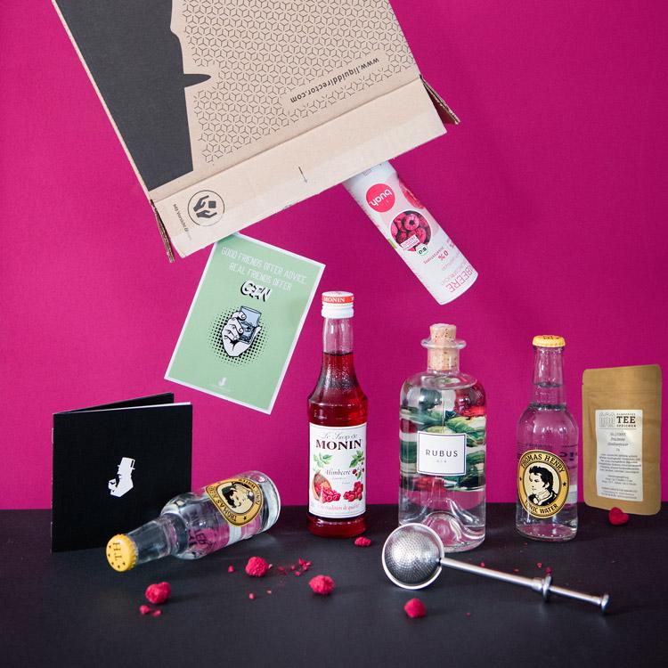 Rubus Gin mit Himbeer-Cocktailrezpte in der September Box