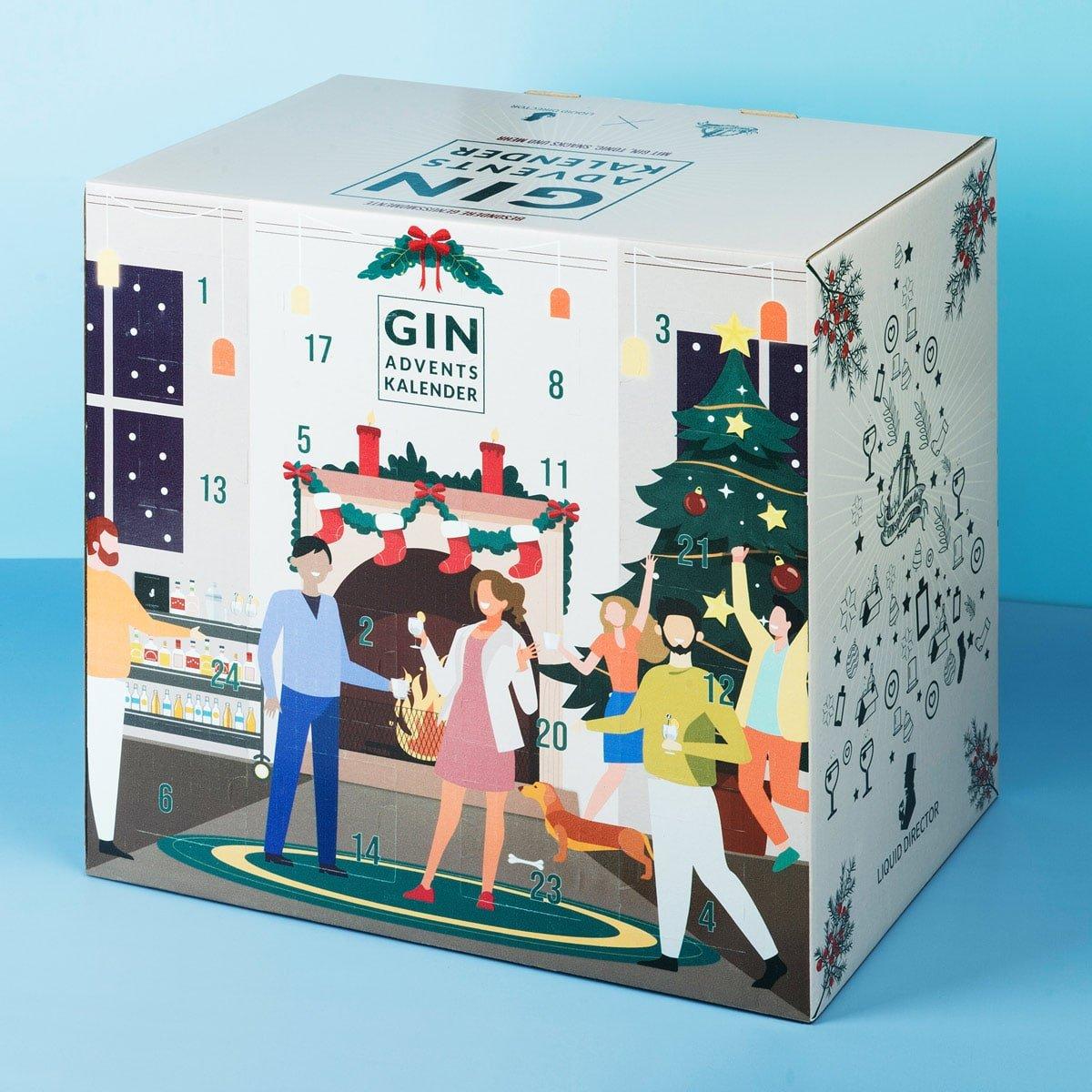 Gin Adventskalender 2021 Frontantsicht mit Gin, Tonic Water uns Snacks