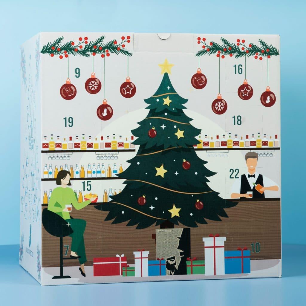 Rückseite mit Bar-Keeper und Weihnachtsbaum