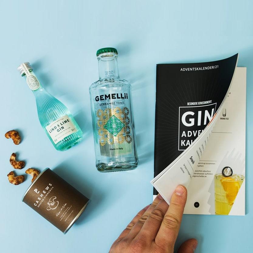 Im Detail alle 3 Tage ein Set aus Gin Tonic Water und Snack
